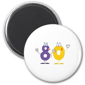 Happy Number 80 6 Cm Round Magnet
