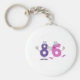 Happy Number 86 Basic Round Button Key Ring