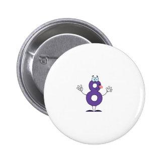 Happy Number 8 6 Cm Round Badge