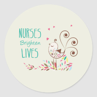 Happy Nurses Day, Cute Bird on Stripes Classic Round Sticker