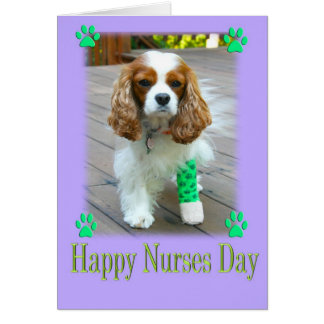 Happy Nurses Day With Spaniels Bandaged Foot Card