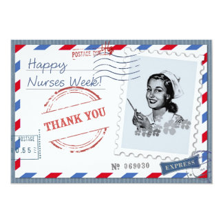 Happy Nurses Week. Vintage Design Flat Cards 13 Cm X 18 Cm Invitation Card