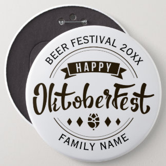 Happy Octoberfest Modern Typography Template 4 6 Cm Round Badge