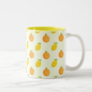 Happy Orange and Lemon Pattern Two-Tone Mug