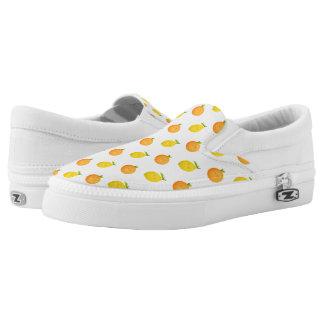 Happy Orange and Lemon Pattern Zipz Slip On Shoes