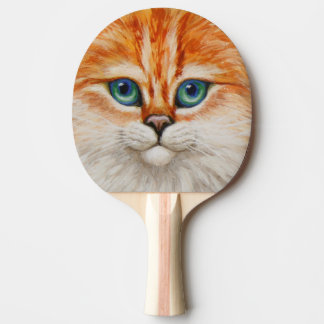 Happy Orange Kitty Face Ping Pong Paddle