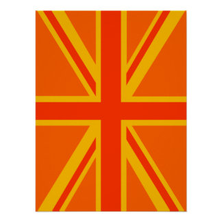Happy Orange Union Jack British Flag Swag Poster