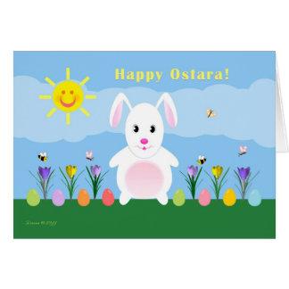 Happy Ostara - Vernal Equinox - Rabbit in Garden Card
