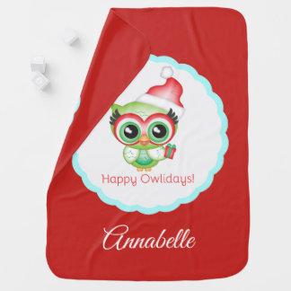 Happy Owlidays Christmas Santa Hat Holiday Owl Baby Blanket
