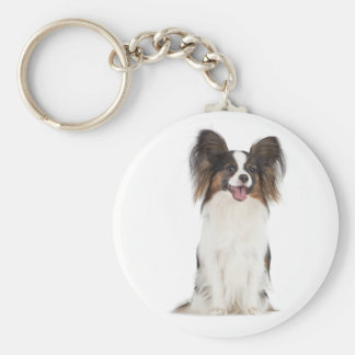 Happy Papillon Brown and White Puppy Dog Key Ring