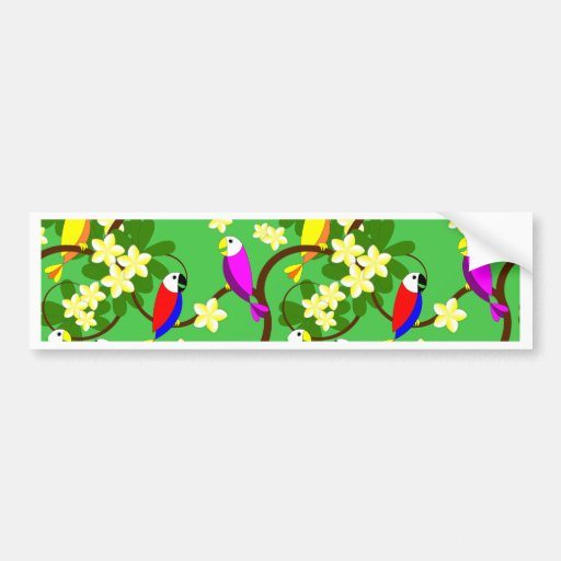 Happy parrots pattern bumper sticker