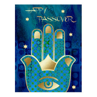 Happy Passover. Hamsa Lucky Symbol Postcards