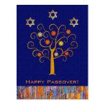 Happy Passover. Spring Flowering Tree Postcard
