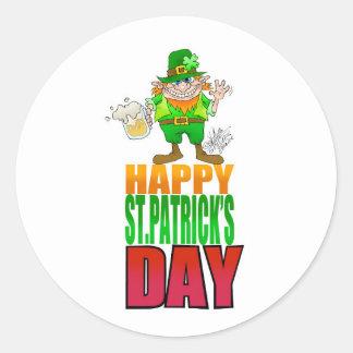 Happy Pat, Cartoon Leprechaun waving, coaster. Classic Round Sticker