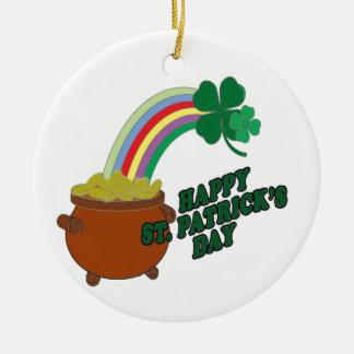 Happy Patrick s Day Round Ceramic Decoration