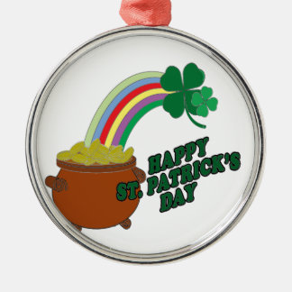 Happy Patrick s Day Silver-Colored Round Decoration
