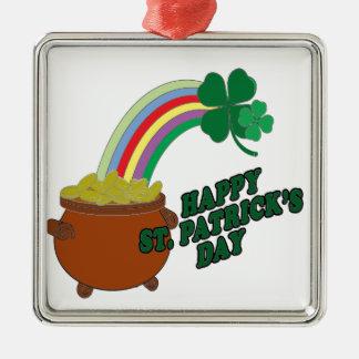 Happy Patrick s Day Silver-Colored Square Decoration