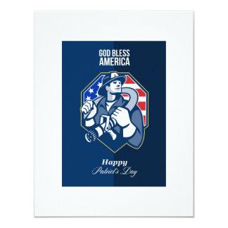 Happy Patriots Day God Bless America Retro Custom Invite