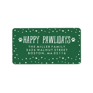 Happy Pawlidays   Green Holiday Address Address Label