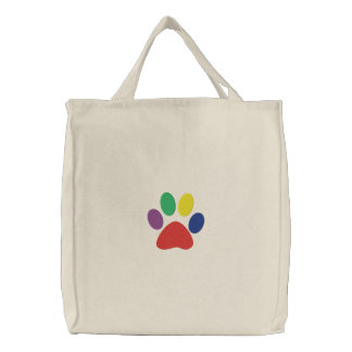 Happy Paws Doggie Embroidered Tote Bag