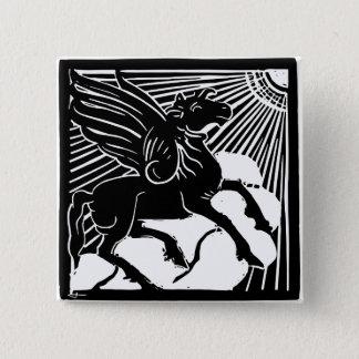 happy Pegasus 15 Cm Square Badge