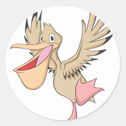 Happy Pelican Bird Round Sticker
