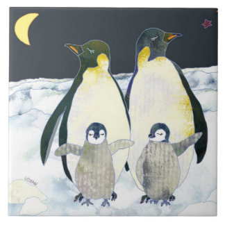 Happy Penguin Family Cute Animal Christmas Deco Tile