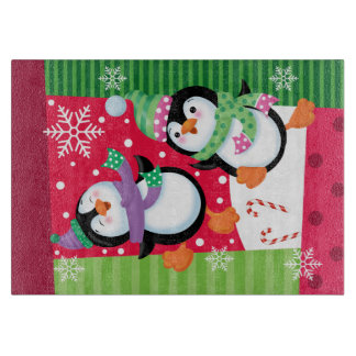 Happy Penguins Glass Cutting Board