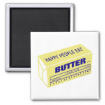 Happy People Eat Butter (Blue) Magnets