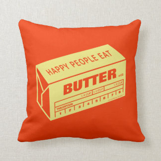 Happy People Eat Butter (Red) Cushion