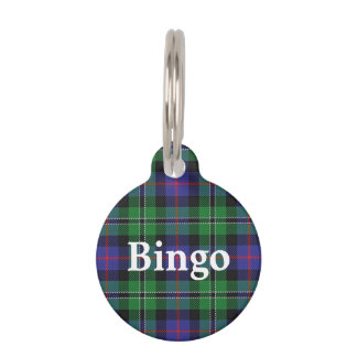 Happy Pet Clan Rose Hunting Tartan Plaid Pet Tag