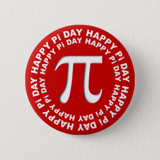 Happy Pi Day Buttons Red and White