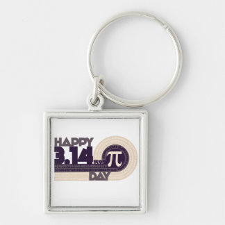 Happy pi Day Silver-Colored Square Key Ring