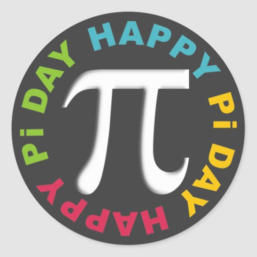Happy Pi Day Stickers Bright Colors