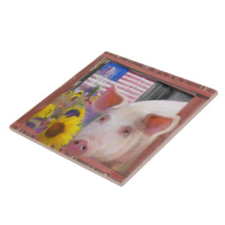 Happy Pig 2 From West Marin Large Square Tile