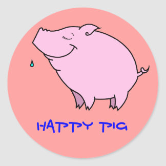 Happy Pig Classic Round Sticker