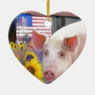 Happy Pig From West Marin Ceramic Heart Decoration