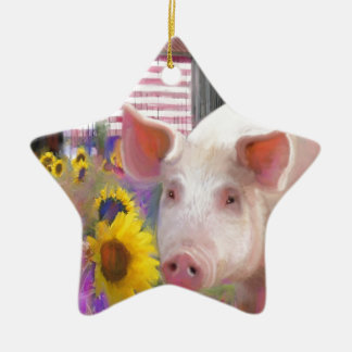 Happy Pig From West Marin Ceramic Star Decoration