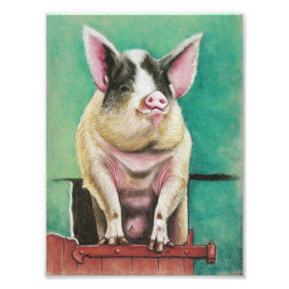 happy pig in pastel animal painting photographic print