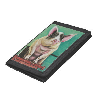 happy pig in pastel animal painting tri-fold wallet