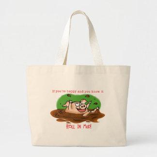 Happy Pig Large Tote Bag