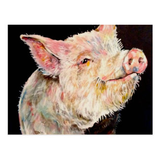 Happy pig. postcard