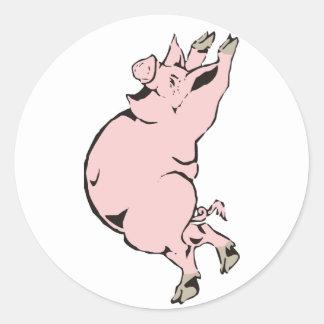 happy pig sow happy pig hog classic round sticker