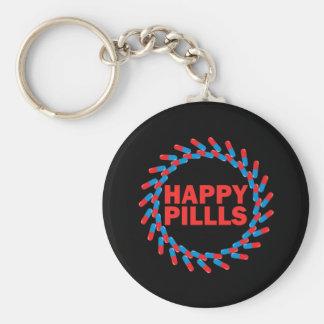 Happy Pills Basic Round Button Key Ring