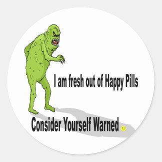 Happy Pills Round Stickers
