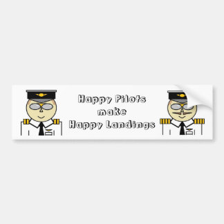 Happy pilots make happy landings Sticker Bumper Sticker