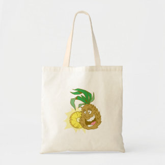 happy pineapple character dude canvas bags