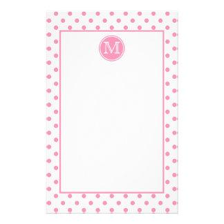 Happy Pink and White Polka Dot Monogram Stationery