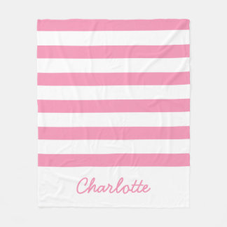 Happy Pink and White Stripes Personalized Fleece Blanket
