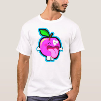 Happy pink apple in white shirt